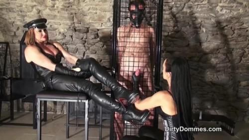 Fetish Liza, Miss Miranda - Caged Boot And Glove Slave Milked Part 2