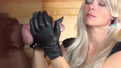 Cum Drinking, Ruined Orgasm, Edging Handjob In Rough Leather Gloves Feat. Alina