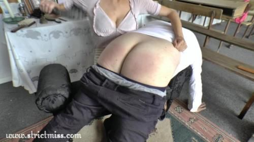 Lady Demure Disciplines Her Butler, With Three Implements