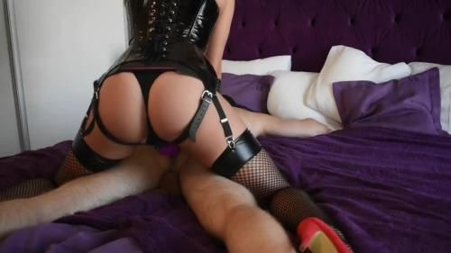 Mad Tiny Kitty - Alt Girl In Latex Fucks Her Collared Sub And Makes Him Cum All Over Himself