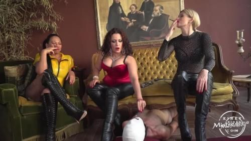 Domina Scarlet, Mistress Saint Lawrence, Mistress Luna - The Human Ashtray For 3 Ladies