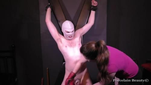 Porcelain Beauty - Chastity Slave Kicked In The Balls